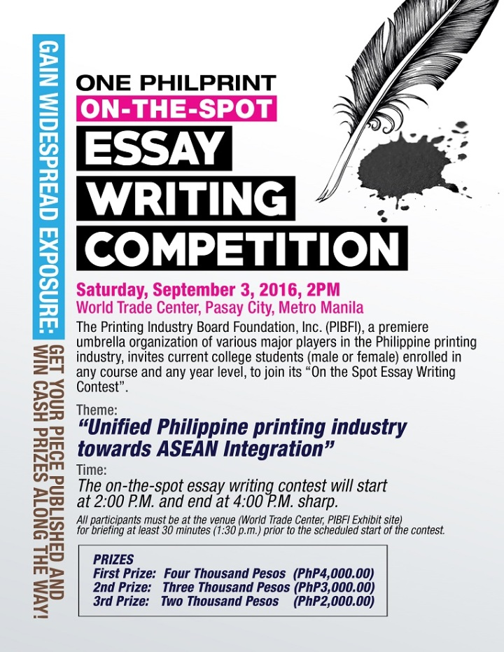 One PhilPrint On-the-Spot Essay Writing Competition